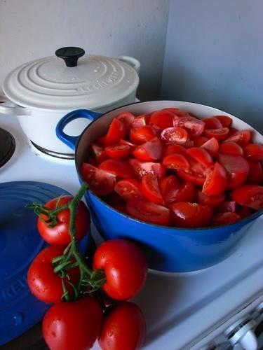 2009年の夏はトマトが大豊作。生ではとても食べきれず、 トマトソースにして瓶詰めにしました。30瓶くらいできました。